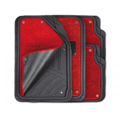 Коврики автомобильные Autoprofi Focus 2, универсальные, морозостойкие, цвет: черный, красный, 4 предметаTER-420 BK/RDКоврики Autoprofi Focus 2 оснащены слоем мягкого и привлекательного ковролина, который придает салону автомобиля уют и комфорт. При необходимости ковролин можно легко отстегнуть, почистить и высушить. В качестве основы ковриков используется термопласт-эластомер, который сохраняет свою эластичность при очень низких температурах - до -50°С. Материал характеризуется небольшим весом, отсутствием типичного для резины запаха и высокой износостойкостью. Насечки для разреза на поверхности ковриков помогают корректировать размер и форму изделий, адаптируя их под профиль днища. Благодаря этому и высоким фрикционным качествам термопласта-эластомера коврики не скользят под ногами и плотно лежат на поверхности пола, защищая его от грязи и влаги. Характеристики: Материал: термопласт-эластомер. Цвет: черный, красный. Комплектация: 4 шт. Температура использования ковриков: от -50°С до +50°С. Размер переднего коврика: 72 см х 50 см. Размер заднего коврика: 50...