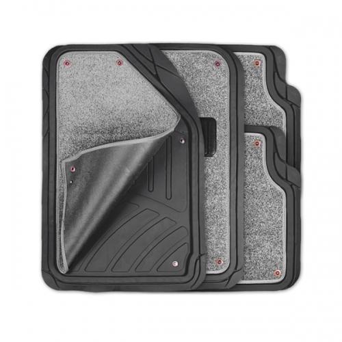 Коврики автомобильные Autoprofi Focus 2, универсальные, морозостойкие, цвет: черный, серый, 4 предметаTER-420 BK/GYКоврики Autoprofi Focus 2 оснащены слоем мягкого и привлекательного ковролина, который придает салону автомобиля уют и комфорт. При необходимости ковролин можно легко отстегнуть, почистить и высушить. В качестве основы ковриков используется термопласт-эластомер, который сохраняет свою эластичность при очень низких температурах - до -50°С. Материал характеризуется небольшим весом, отсутствием типичного для резины запаха и высокой износостойкостью. Насечки для разреза на поверхности ковриков помогают корректировать размер и форму изделий, адаптируя их под профиль днища. Благодаря этому и высоким фрикционным качествам термопласта-эластомера коврики не скользят под ногами и плотно лежат на поверхности пола, защищая его от грязи и влаги. Характеристики: Материал: термопласт-эластомер. Цвет: черный, серый. Комплектация: 4 шт. Температура использования ковриков: от -50°С до +50°С. Размер переднего коврика: 72 см х 50 см. Размер заднего коврика: 50 см...