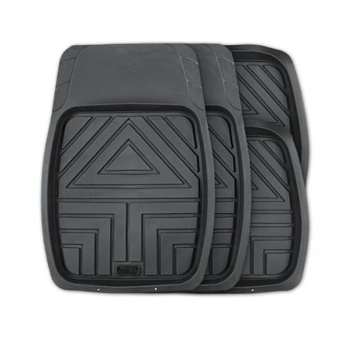 Коврики автомобильные Autoprofi Arrow, универсальные, цвет: черный, 4 предметаTER-110 BKКомплект универсальных ковриков-ванночек Autoprofi Arrow с рисунком в виде стрелы гармонично смотрится в салоне любого автомобиля. Насечки для разреза передних ковриков позволяют придать им форму, соответствующую выемкам днища. Благодаря этому они плотно прилегают к полу, защищая его от грязи и влаги. Коврики изготавливаются из термопласта-эластомера, который отличается небольшим весом, отсутствием характерного для резины запаха и сохраняет эластичность при экстремально низких температурах - до -50°С. Материал устойчив к износу и воздействию агрессивных веществ - масла, топлива, дорожных реагентов, а также обладает высокими фрикционными свойствами. Они не позволяют коврикам скользить по салону и под ногами водителя и пассажира. Характеристики: Материал: термопласт-эластомер. Цвет: черный. Комплектация: 4 шт. Температура использования ковриков: от -50°С до +50°С. Размер переднего коврика: 70 см х 49 см. Размер заднего коврика: 49 см х 47 см. ...