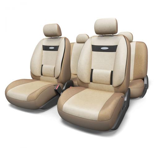 Набор ортопедических авточехлов Autoprofi Comfort, велюр, цвет: темно-бежевый, светло-бежевый, 11 предметов. Размер M. COM-1105 D.BE/L.BE (M)SC-FD421005Эргономичные авточехлы Comfort обладают анатомической формой с объемной боковой поддержкой спины и поясничным упором, которые обеспечивают наиболее удобную осанку водителя и переднего пассажира, снижая усталость от многочасовых поездок. В качестве внешнего материала в чехлах Comfort используется жаропрочный велюр, который не электризуется и не выцветает на солнце. Широкая гамма расцветок чехлов позволяет подобрать их практически к любому оформлению салона автомобиля.Основные особенности авточехлов Comfort:- боковая поддержка спины; - 3 молнии в спинке заднего ряда; - 3 молнии в сиденье заднего ряда; - карманы в спинках передних сидений; - поясничный упор; - использование с боковыми airbag; - толщина поролона: 5 мм;- предустановленные крючки на широких резинках. Комплектация: - 1 сиденье заднего ряда; - 1 спинка заднего ряда; - 2 сиденья переднего ряда; - 2 спинки переднего ряда; - 5 подголовников; - набор фиксирующих крючков.В чехлах для заднего ряда этой серии вшиты 3 молнии в спинку и 3 молнии в сиденье. Это позволяет владельцам автомобилей с модульными задними сиденьями складывать и разделять их, не снимая чехлы. Молнии соответствуют пропорциям 40:60, 50:50, 60:40.