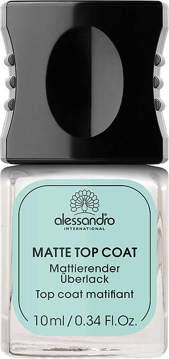 Alessandro Матовое верхнее покрытие Matte Top Coat, 10 мл03-012Верхнее покрытие Alessandro Matte Top Coat превращает обычный лак для ногтей в лак с матовым эффектом. Защищает цветное покрытие, питает ногтевую пластину.