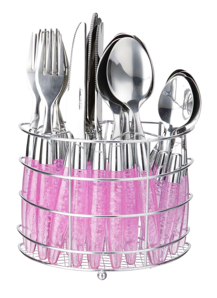Набор столовых приборов Bekker Koch, цвет: розовый, 25 предметов. BK-3300BK-3300Набор столовых приборов Bekker выполнен из коррозионностойкой стали и высококачественного пластика. В набор входит 25 предметов: 6 обеденных ножей, 6 обеденных ложек, 6 обеденных вилок, 6 чайных ложек и металлическая подставка. Приборы имеют оригинальные удобные ручки с пластиковыми вставками. Прекрасное сочетание свежего дизайна и удобство использования предметов набора придется по душе каждому. Набор столовых приборов Bekker подойдет для сервировки стола, как дома, так и на даче и всегда будет важной частью трапезы, а также станет замечательным подарком. Характеристики: Материал: металл, пластик. Цвет: синий. Длина ножа: 22 см. Длина столовой ложки: 21 см. Длина вилки: 21 см. Длина чайной ложки: 15 см. Размер подставки: 17 см x 12 см x 8 см. Размер упаковки: 21 см х 24 см х 9 см. Артикул: BK-3300.