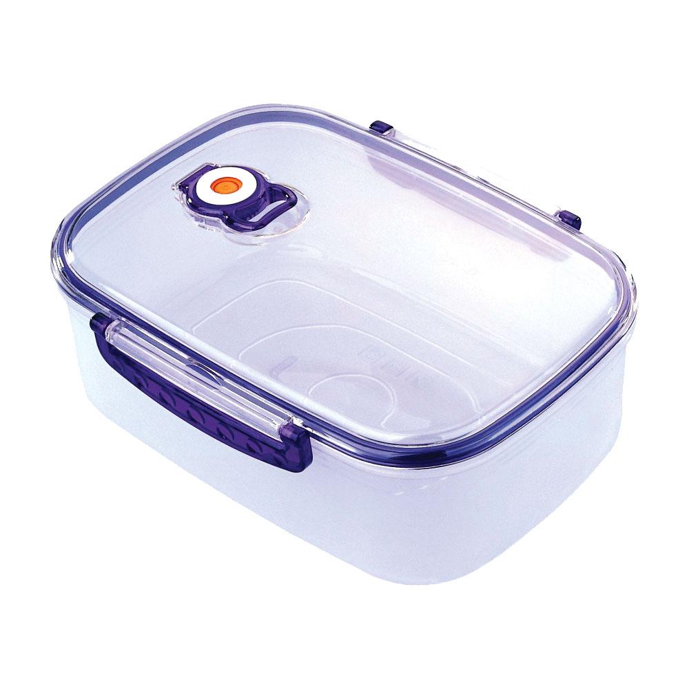 Контейнер вакуумный для пищевых продуктов Bekker, цвет: синий, 2,5 л контейнер пищевой вакуумный bekker квадратный 2 28 л