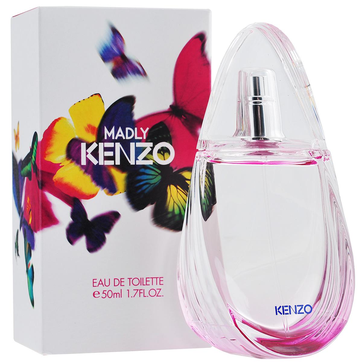 Kenzo Туалетная вода Madly, женская, 50 мл1301210Kenzo Madly - дом Kenzo говорит о тех чувствах, которые вдохновляют женщин на безрассудства и дарят ей свободу быть собой. Эту тему безрассудной любви воспевает Madly, а изящный флакон в виде крыльев бабочки вторит ему, говоря о чем-то восхитительном и неуловимом. Влюбленность и любовь, как начало и продолжение истории вспыхнувших чувств. Kenzo Madly - это пробуждение чувств, погружение в волнующую атмосферу влюбленности, легкое и беззаботное настроение, окрыленность и ощущение полета! Классификация аромата: фруктовый, цветочный. Пирамида аромата:Верхние ноты: груша, личи.Ноты сердца: цветок гелиотропа, жасмин.Ноты шлейфа: кедр, мускус.Ключевые словаЛегкий, романтичный, влекущий, беззаботный! Характеристики:Объем: 50 мл.Производитель: Франция.Туалетная вода - один из самых популярных видов парфюмерной продукции. Туалетная вода содержит 4-10%парфюмерного экстракта. Главные достоинства данного типа продукции заключаются в доступной цене, разнообразии форматов (как правило, 30, 50, 75, 100 мл), удобстве использования (чаще всего - спрей). Идеальна для дневного использования. Товар сертифицирован.