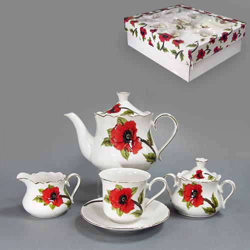 Набор чайный Красный мак, 15 предметов590-001Чайный набор Красный мак состоит из шести чашек, шести блюдец, заварочного чайника, молочника и сахарницы. Предметы набора изготовлены из высококачественного белого фарфора и декорированы золотистой каймой и изящным изображением красных маков. Чайный набор Красный мак станет украшением сервировки вашего стола, а также послужит замечательным подарком к любому празднику. Набор упакован в стильную подарочную коробку из плотного картона. Внутренняя часть коробки задрапирована белой атласной тканью, и каждый предмет надежно крепится в определенном положении благодаря особым выемкам. Характеристики: Материал: фарфор. Диаметр чашки по верхнему краю: 8,5 см. Высота чашки: 8 см. Диаметр блюдца: 15 см. Максимальный диаметр чайника (без учета носика и ручки): 14 см. Высота чайника (без учета крышки): 11,5 см. Объем чайника: 1 л. Максимальный диаметр сахарницы: 9,5 см. Высота сахарницы (без учета крышки): 7 см. Максимальный...