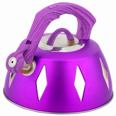Чайник металлический Bekker De Luxe, цвет: фиолетовый, 2,8 л. BK-S45594672Корпус чайника Bekker De Luxe выполнен из высококачественной нержавеющей стали, что обеспечивает долговечность использования. Цветной корпус. Пластмассовая фиксированная ручка с прорезиненным покрытием делает использование чайника очень удобным и безопасным. Чайник снабжен свистком и устройством для открывания носика. Капсулированное дно. Подходит для использования на электрических, газовых, стеклокерамических, галогеновых плитах. Можно мыть в посудомоечной машине. Характеристики: Материал:нержавеющая сталь, пластик, резина. Объем:2,8 л. Диаметр основания чайника: 22,5 см. Толщина стенки: 0,5 мм. Высота чайника (без учета ручки):11 см. Размер упаковки: 22,5 см х 22,5 см х 20 см.