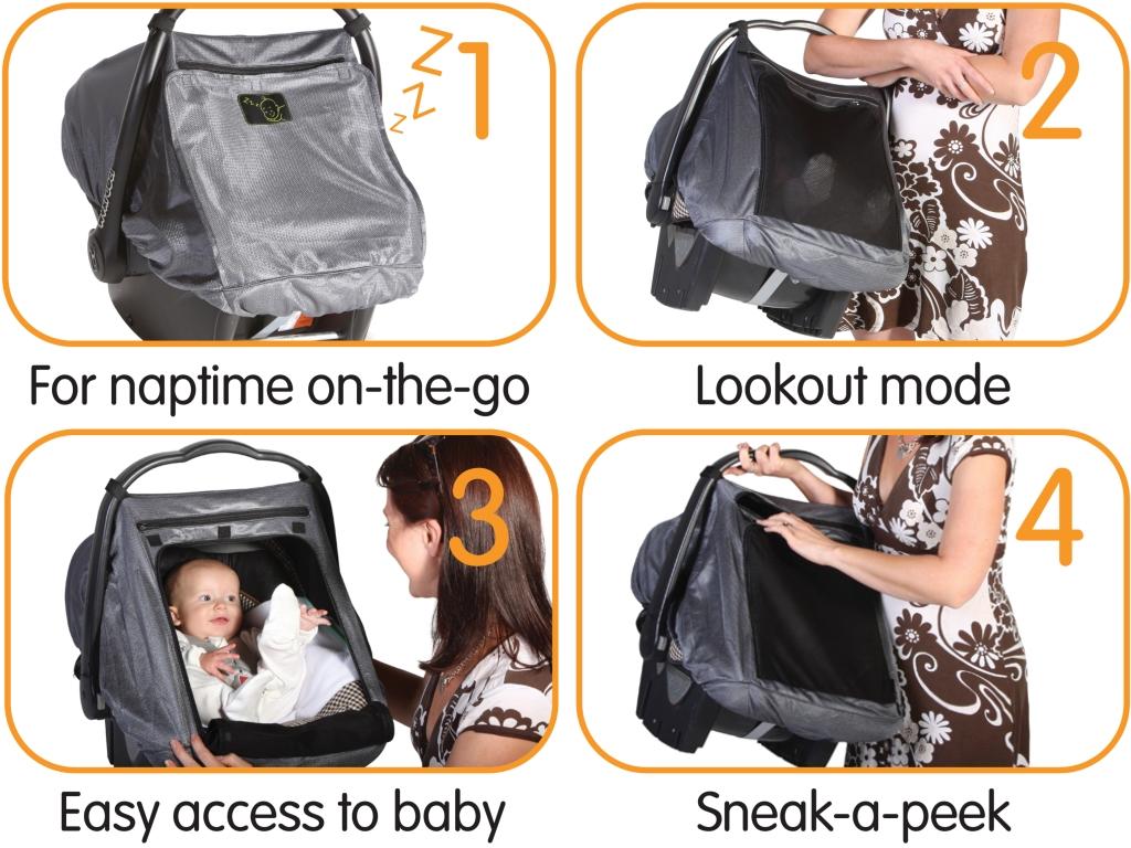 Шторка защитная для детских автокресел SnoozeShade Auto Deluxe5609СнузШейд (SnoozeShade) АВТО Делюкс - универсальная защитная шторка для детских автокресел. Это простое и элегантное решение проблемы сна Вашего ребенка в пути. Шторка на автокресло укроет его от солнца, шума, мелькания за окном и позволит поспать подольше. Снузшейд Авто бережет сон ребенка в автокресле и нервы водителя.А значит спокойствие и хорошее настроение в дороге гарантированы всей семье! Модель Авто предназначена специально для автомобильных кресел группы 0 и 0+ . Солнце больше не будет беспокоитьмалыша во время поездок, заглядывая в окна автомобиля то с одной, то с другой стороны. А когда поездка окончена, спящего малыша просто перенести вместе с креслом в дом, не нарушая его сон. Особенности шторки SnoozeShade АВТО Делюкс: Цвет - благородный серебристый серыйВыглядит великолепноПодходит к дизайну современных автокресел Защита от солнца и жары - блокируетвредное UV излучения2 слоя специальной дышащей тканиВерхний серебристый слой отражает свет и излишек солнечного теплаНижний темный слой блокирует ультрафиолетовые лучиМногофункциональная конструкция фронтальной части:Можно открыть полностью и получить легкий доступ к малышуМожно пристегнуть 1 полупрозрачный слой и защититьот солнца в машине, и ветра и насекомых на улицеМожно пристегнуть 2 серебристый слой и обеспечить малышу полумрак и спокойствие для сладкого сна.Молния на окошке, чтобы проведать малышаЗаглянуть к спящему крохе, когда пристегнуто 2 слояДать малышу игрушку или перекус, когда пристегнут 1 защитный слойСимпатичная эмблема, со спящим малышомДаст понять окружающим, что малыш спит, и его не стоит беспокоитьРемешки крепления со специальными надежными и безопасными кнопкамиЕдинственные крепления на рынке, сертифицированные по стандартам безопасности ЕС. СнузШейд надежно защищает вашего ребенкаОт яркого солнца (задерживают 94 % света)От ультрафиолета (UPF 40+)От пылиОт насекомыхОт легкого дождя или снегаОт внезапного яркого светаОт жа