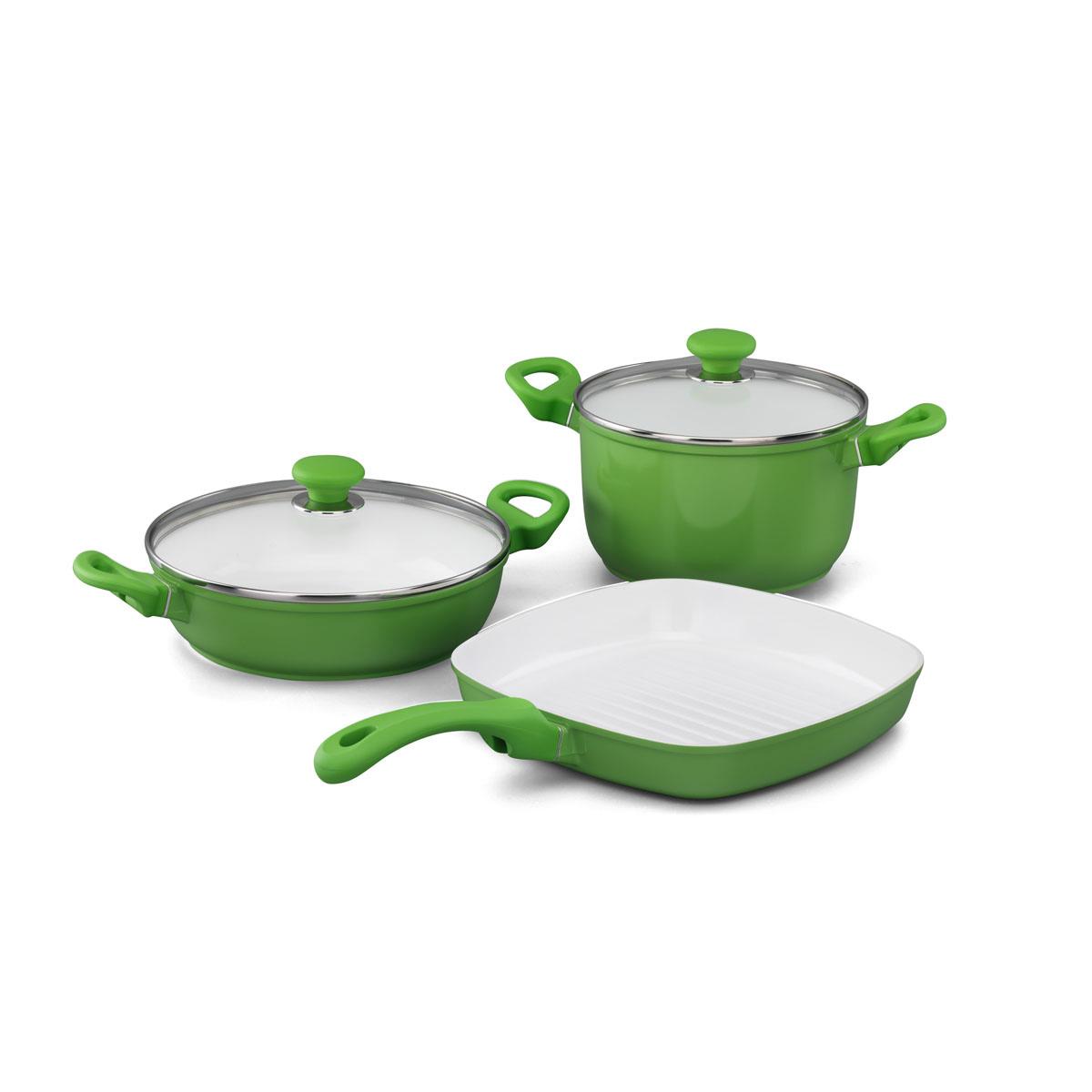 Набор посуды Korkmaz Seravita с керамическим покрытием, цвет: зеленый, 3 предметаA1516-1Набор посуды Korkmaz Seravita состоит из кастрюли с крышкой, сотейника с крышкой и сковороды-гриля. Внешнее покрытие зеленого цвета, внутреннее покрытие - белого цвета. Керамическое внутреннее и наружное покрытие нагревается до +450°С, чрезвычайно устойчиво к механическому воздействию, не выделяет токсичных паров при готовке, не содержит тяжелых металлов (таких как свинец и кадмий), легко моется. При готовке на керамическом покрытии пища не пристает и не пригорает, а масла требуется вдвое меньше по сравнению с другими покрытиями, что позволяет приготовить здоровую, вкусную и полезную пищу без лишних жиров и оксидантов. Кроме того, покрытие абсолютно экологично, так как не содержит тефлоновые составляющие PTFE и PFOA. Основа из высокопрочного алюминия позволяет изделиям быстро нагреваться до высокой температуры и равномерно распределять тепло по всей поверхности. Высокая теплопроводность позволяет быстро готовить даже на медленном огне, а значит, витамины и полезные...