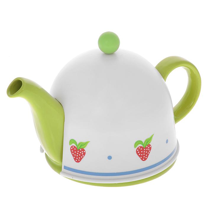 Чайник заварочный Mayer & Boch, с термоколпаком, цвет: зеленый, белый, 0,5 лVT-1520(SR)Заварочный чайник Mayer & Boch, выполненный из керамики зеленого цвета, позволит вам заварить свежий, ароматный чай. Чайник оснащен сетчатым фильтром из нержавеющей стали. Он задерживает чаинки и предотвращает их попадание в чашку. Сверху на чайник одевается термоколпак из пластика с тканевой прослойкой. Он поможет дольше удерживать тепло, а значит, вода в чайнике дольше будет оставаться горячей и пригодной для заваривания чая. Заварочный чайник Mayer & Boch послужит хорошим подарком для друзей и близких. Характеристики:Материал: керамика, нержавеющая сталь, пластик, текстиль. Цвет: зеленый, белый. Объем: 0,5 л. Диаметр основания чайника: 14 см. Высота чайника (без учета ручки и крышки): 9,5 см. Размер термоколпака: 14,5 см х 14,5 см х 13 см. Размер упаковки: 18,5 см х 15,5 см х 15 см. Артикул: 21873.