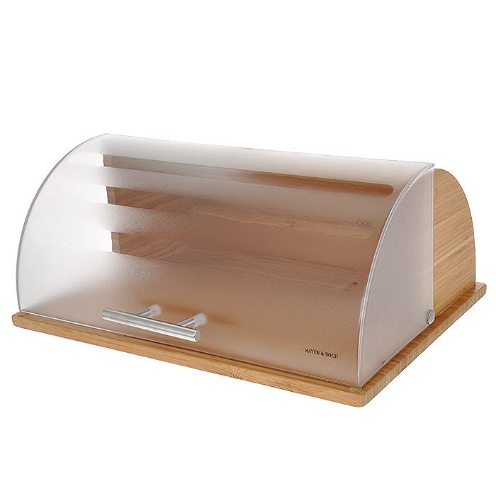 Хлебница Mayer & BochVT-1520(SR)Хлебница Mayer & Boch, выполненная в классическом дизайне из бамбука, позволит сохранить ваш хлеб свежим и вкусным. Полупрозрачная пластиковая крышка плавно открывается и является герметичной. Крышка оснащена металлической ручкой. Эксклюзивный дизайн, эстетика и функциональность хлебницы делают ее превосходным аксессуаром на вашей кухне. Характеристики:Материал: бамбук, пластик, нержавеющая сталь. Размер хлебницы: 29 см х 38 см 16 см. Размер упаковки: 32 см х 40 см 17 см. Артикул: 21218.