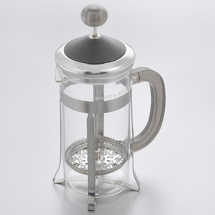 Френч-пресс Mayer & Boch, 350 мл. 2125521255Френч-пресс Mayer & Boch изготовлен из термостойкого стекла с металлическими вставками. Крышка и ручка выполнены из пластика серого цвета. Изделие очень просто и легко использовать как для приготовления кофе, так и чая. Настоянный в таком чайнике напиток получается заваристым и ароматным. Характеристики: Материал: пластик, стекло, нержавеющая сталь. Объем: 350 мл. Размер основания: 7 см х 6,5 см. Диаметр по верхнему краю: 7 см. Высота (с учетом крышки): 18,5 см. Размер упаковки: 11 см х 9,5 см х 19 см. Артикул: 21255.