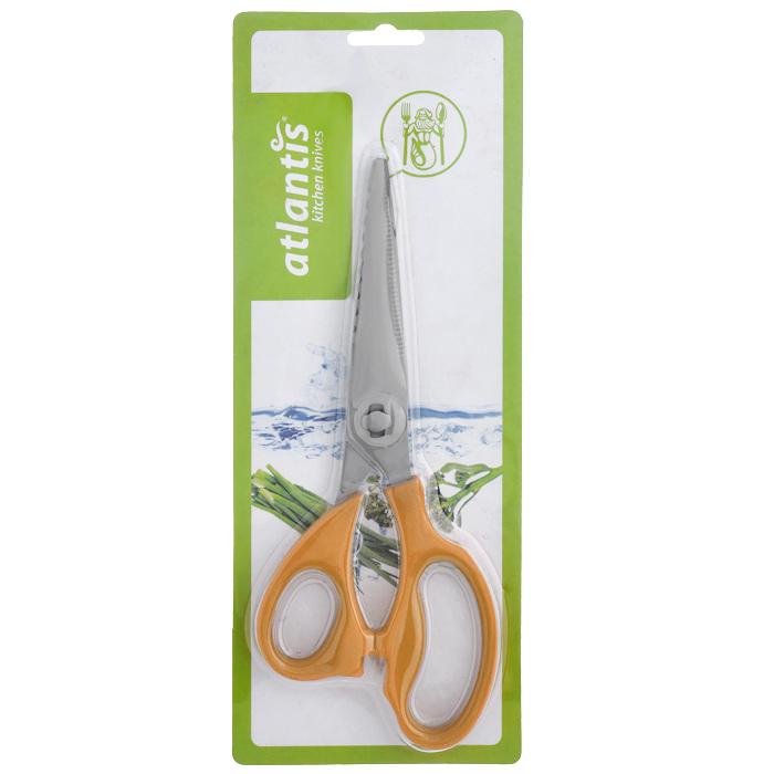 Ножницы кухонные Atlantis, разборные18LF-1002-OКухонные ножницы Atlantis изготовлены из высококачественной стали с ручной заточкой. Ручки ножниц выполнены из пластика оранжевого цвета с покрытием Soft-touch. Кухонные ножницы - универсальный помощник в вашем доме. Они отлично справляются со многими кухонными работами, начиная с нарезки свежей зелени и вскрытия прочных картонных и полимерных упаковок и, заканчивая разделкой рыбы и птицы (срезание плавников, разрезание тушки цыпленка на порционные части). Характеристики: Материал: сталь, пластик. Длина ножниц: 21 см. Размер упаковки: 28,5 см х 11,5 см х 2 см. Артикул: 18LF-1002-O.