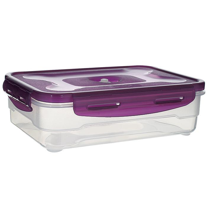 Контейнер вакуумный для пищевых продуктов Atlantis, цвет: фиолетовый, 1,2 лVS2R-31-VКонтейнер Atlantis прямоугольной формы предназначен для хранения пищевых продуктов. Контейнер изготовлен из пищевого пластика, в состав которого включена антибактериальная добавка Microban. Microban, встроенный в структуру пластика, препятствует размножению микроорганизмов, уничтожает до 99,6% бактерий, находящихся на поверхности изделия. Сила межмолекулярных связей внутри полимера удерживает антисептик на поверхности и он не распространяется в сохраняемый продукт. Не изменяет вкусовых свойств хранимых в контейнере продуктов, препятствует размножению болезнетворных бактерий, сохраняет антибактериальные свойства в течение всего срока использования контейнера. Продукты сохраняются свежими дольше, чем в обычных контейнерах. Позволяет предотвратить загрязнение и неприятный запах, вызываемый бактериями, грибком и плесенью. Продукты в вакуумном контейнере можно ставить в морозилку или разогревать в микроволновой печи, не снимая при этом крышку контейнера. Состояние...