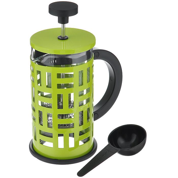 Кофейник Bodum Eileen с прессом, с ложечкой, цвет: зеленый, 0,35 л11198-Кофейник Bodum Eileen представляет собой колбу из термостойкого стекла в цельной оправе из окрашенной нержавеющей стали. Оправа защищает хрупкую колбу от толчков и ударов. Кофейник оснащен стальным фильтром french press, который позволяет легко и просто приготовить отличный напиток. Ненагревающаяся ручка кофейника выполнена из пластика. В комплекте небольшая мерная ложечка из черного пластика. Благодаря такому кофейнику приготовление вкуснейшего ароматного и крепкого кофе займет всего пару минут. Профессиональная серия Eileen была задумана и создана в честь великого архитектора и дизайнера - Эйлин Грей (Eileen Gray). При создании серии были особо учтены соображения функционального удобства. Стильный внешний вид и практичность в использовании сделали Eileen чрезвычайно востребованной серией. Характеристики: Материал: нержавеющая сталь, пластик, стекло. Цвет: зеленый. Объем: 0,35 л. Диаметр кофейника по верхнему краю: 7 см. Высота стенки...