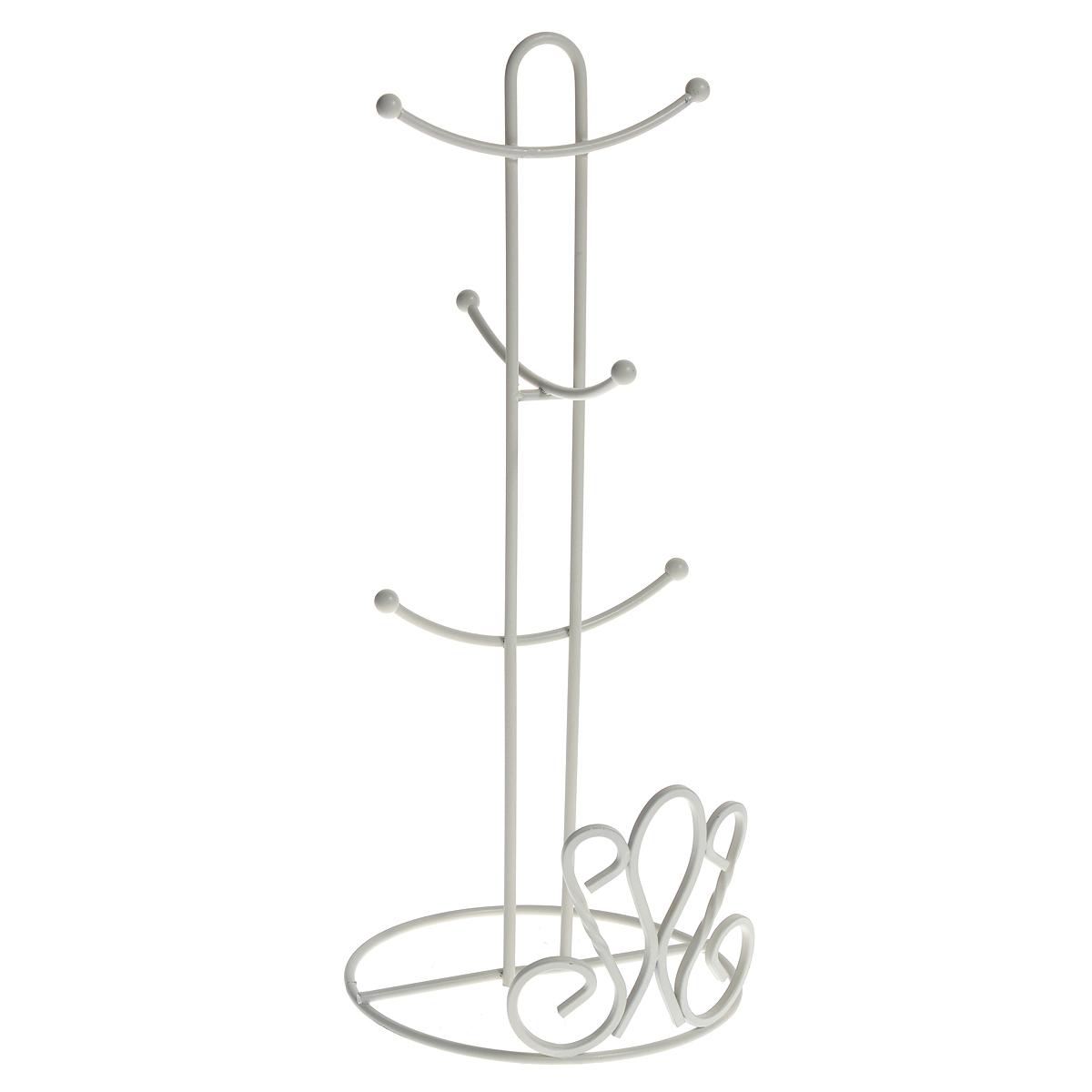 Подставка De Lis для 6 кружек, цвет: белый0508281Подставка для шести кружек De Lis, выполненная из стали белого цвета, приведет Вас в восхищение. Это незаменимая вещь для кухни, где не так уж и много свободного пространства. Она представляет собой круглое резное основание, к которому крепится вертикальный стержень. К стержню присоединены небольшие крючки, на которые вешаются кружки. Края крючков декорированы небольшими шариками. Подставка De Lis прекрасно подойдет в домашнем быту, она позволяет хранить кружки компактно. Просто повесьте их за ручки на эту подставку. Характеристики: Материал: нержавеющая сталь. Цвет: белый. Высота подставки: 38 см. Диаметр основания: 15 см. Длина крючка: 5,5 см. Артикул: 0508281.