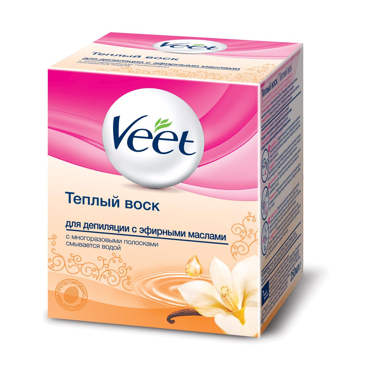 Veet Теплый воск для эпиляции, с эфирными маслами, 250 млперфорационные unisexТеплый воск Veet для эпиляции содержит эфирные масла. Благодаря формуле, основанной на натуральных ингредиентах, воск удаляет волосы с первого раза и оставляет вашу кожу увлажненной. Ваша кожа нежная и гладкая до 4 недель. Способ применения: Нагрейте воск в течение 40 секунд в микроволновой печи или 10 минут в кипящей воде. Температурный индикатор, на конце лопаточки, сообщит, если воск слишком горячий. Наносите воск при помощи удобной лопаточки подходящей для различных участков тела. Остатки воска смойте водой. В набор входят:баночка с воском, 12 многоразовых тканевых полосок, лопаточка, инструкция по применению.Объем воска: 250 мл.Товар сертифицирован.