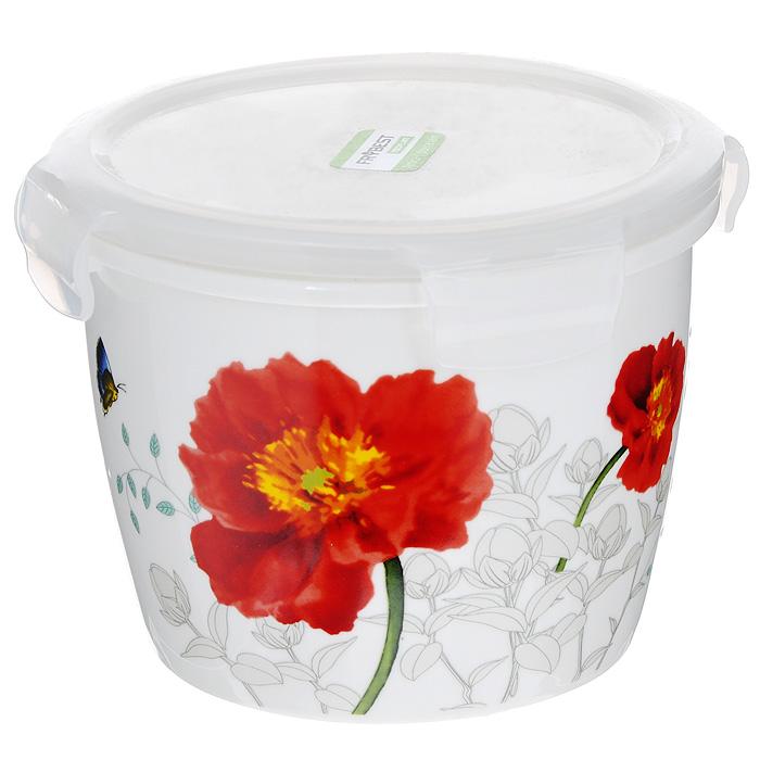 Контейнер для продуктов Frybest фарфоровый, круглый, 950 млMAK-095Круглый контейнер для продуктов Frybest выполнен из высококачественного фарфора белого цвета и украшен цветочным рисунком. Контейнер оснащен удобной крышкой из прозрачного пластика, которая плотно закрывается на 4 защелки. Основные преимущества: - экологичность (не содержит вредных и ядовитых материалов); - герметичность (превосходная герметичность позволяет сохранить свежесть продуктов); - чистота и гигиеничность (цвет материала не блекнет со временем, покрытие не впитывает запах); - утонченный европейский дизайн (прекрасное украшение стола); - удобство использования (подходит для мытья в посудомоечной машине, хранения в холодильной и морозильной камере). Характеристики: Материал: пластик, фарфор. Объем: 950 мл. Диаметр контейнера: 14 см. Высота (без учета крышки): 10 см. Высота (с учетом крышки): 11,5 см. Размер упаковки: 16 см х 15 см х 12 см. Артикул: MAK-095.