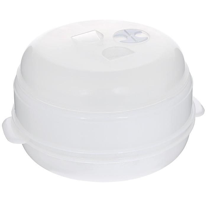 Пароварка для СВЧ Bradex Вкус и польза, двухуровневая , цвет: белыйCM000001328Двухуровневая пароварка Bradex Вкус и польза, выполненная из пластика белого цвета, предназначена для приготовления пищи в микроволновой печи. Пища, приготовленная в такой пароварке, сохраняет все полезные микроэлементы и витамины, не теряет цвет и свой аппетитный аромат. Для приготовления вкусного и полезного блюда при помощи пароварки для СВЧ вам потребуется 15-20 минут, а наличие двух уровней для продуктов позволяет готовить основное блюдо и гарнир одновременно. Легкая конструкция пароварки, качество материала обеспечивают простоту в использовании и уходе за ней. Характеристики: Материал: пластик. Цвет: белый. Диаметр пароварки: 22,5 см. Высота (с учетом крышки): 17 см. Размер упаковки: 23,5 см х 10 см х 23 см. Артикул: TK 0004.
