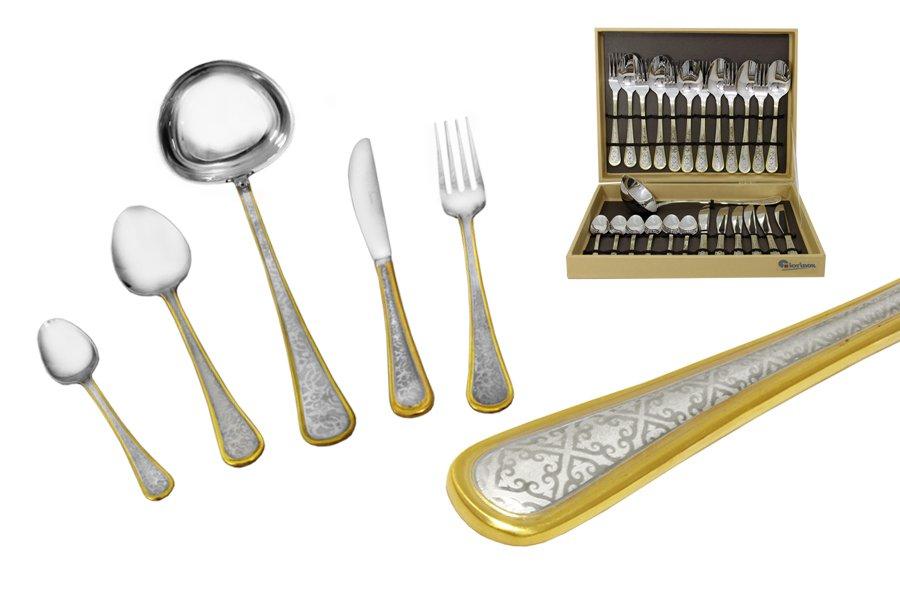 Набор столовых приборов из 25 предметовNain115510Материал: Нержавеющая сталь. Цвет: серебряный, золотой. Серия: Nain. Размер товара: 6 вилок, 6 столовых ложек, 6 ножей, 6 чайных ложек, 1 половник. Размер упаковки: 37х29х8.
