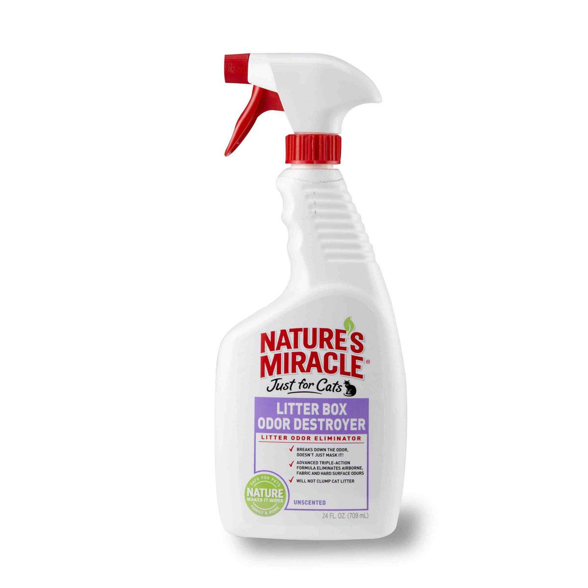 Спрей 8 in 1 Natures Miracle, для устранения запаха кошачьего туалета, 709 мл5055521Спрей 8 in 1 Natures Miracle нейтрализует резкие запахи в кошачьем туалете, в воздухе, на тканях и твердых поверхностях! Технология захвата запахов начинает устранять даже самые стойкие запахи туалета сразу после контакта с ними. Безопасен для использования с любыми наполнителями и на любых поверхностях. Другие уничтожители неприятного запаха только маскируют запах от первоисточника, в то время как инновационная формула спрея вступает в контакт с неприятными запахами, устраняя их с любой поверхности. Не содержит ароматизаторов и не раздражает кошек. Может использоваться с любыми наполнителями, не комкует наполнители. Распылите средство в воздухе или в туалет животного, на его подстилку, клетки, диваны, ковры или любое другое место, которое посещает ваша кошка! При правильном применении безопасен для использования вблизи детей и животных. Способ применения: Устранение запахов в кошачьем туалете: обильно распылите в кошачьем туалете после использования...