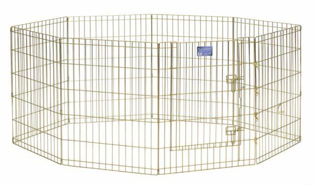 Вольер для животных Midwest, цвет: золотой, 61 см х 76 см542-30Комфортный вольер Midwest для животных с 8 панелями - это лучший выбор для тех, кто заботится об уюте и безопасности своего питомца. Дверь вольера оснащена крепким двойным замком, что исключает случайное открытие. В комплект также входят угловые усилители, которые поддерживают конфигурацию ограждения и добавляют конструкции вес, чтобы животное не могло ее перевернуть. Специальное акриловое покрытие Acri-Lock золотистым цинком, нанесенное на вольер, продляет срок эксплуатации клетки. Вольер легко переносится и просто складывается для удобного хранения, не требуется никаких инструментов или дополнительных деталей. Размер одной секции (ШхВ): 61 см х 76 см. Вес конструкции: 11,3 кг. Товар сертифицирован.