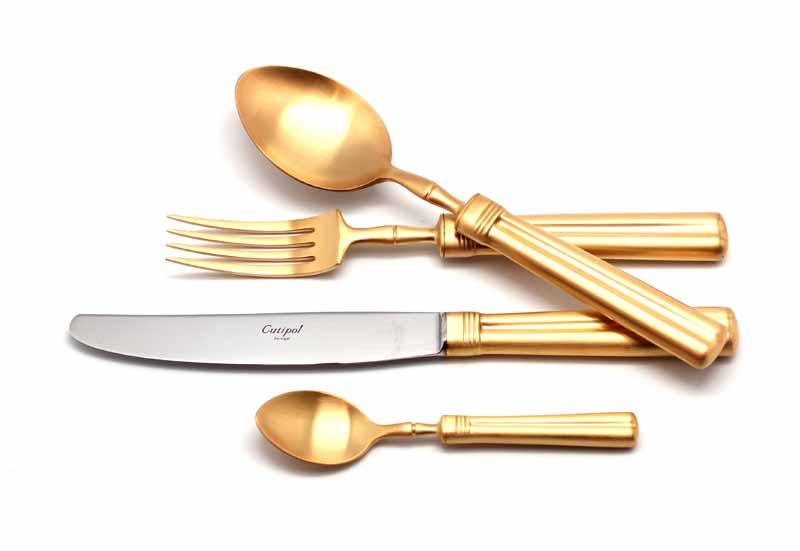 Набор столовых приборов Cutipol Fontainebleau Gold, цвет: золотистый матовый, 24 предмета91629162 FONTAINEBLEAU GOLD мат. 24 пр. Характеристики: Материал: сталь. Размер: 405*295*65мм. Артикул: 9162.