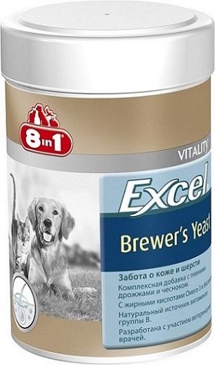 Добавка 8 in 1 Excel. Brewers Yeast, для кошек и собак, 260 таблеток1086038 in 1 Excel. Brewers Yeast - комплексная добавка, содержащая пивные дрожжи и чеснок, богата витаминами группы В, жиром ценных пород рыб (источник жирных кислот Омега-3). Специальный баланс витаминов и микроэлементов способствует поддержанию здоровой кожи и блестящей шерсти, стимуляции иммунной системы, улучшения аппетита, профилактики заболеваний печени у собак и кошек. Применение: Добавку давать собакам (кошкам) ежедневно по 1 таблетке на каждые 4 кг веса животного (перед едой или вместе с кормом). Рекомендуемый курс применения 14-30 дней. Изменения дозировки или повторный курс по показаниям. Состав: пивные дрожжи (Saccharomyces cerevisiae), стеариновая кислота, глицерин, чеснок, сафлоровое масло, диоксид кремния, масло тунца. Не содержит искусственных консервантов и красителей. Пищевая ценность: сырой белок - 43%, сырой жир - 7%, сырая клетчатка - 1%, зола - 9%, влага - 8%. Витамины: витамин В1 800 мг/кг, витамин В2 500...