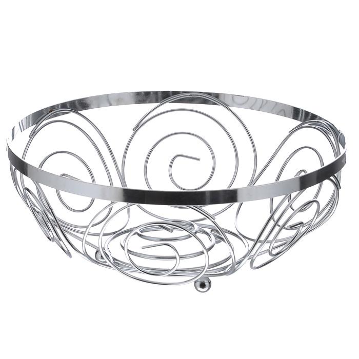 Фруктовница Swirl0509785Современный дизайн фруктовницы Swirl, изготовленной из хромированной стали, идеально впишется в интерьер современной кухни. Фруктовница выполнена в виде чаши. Стенки изделия украшены металлическими спиралями. Характеристики: Материал: хромированная сталь. Размер: 23 см х 23 см х 9 см. Артикул: 0509785. Производитель: Великобритания.