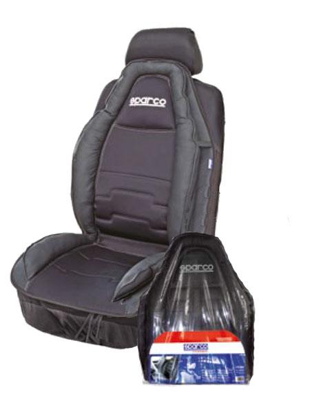 """Накидка на сиденье """"Sparco"""", экокожа, полиэстер, наполнитель: синтепон, цвет: черный SPC/CUS-020 BK"""