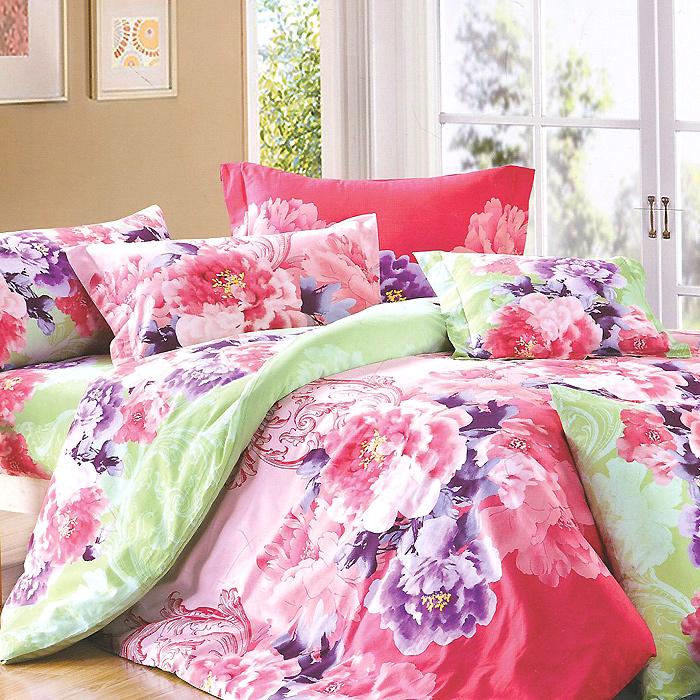 Постельное белье Матильда (1,5 спальный КПБ, сатин, наволочки 70х70), цвет: розовый, зеленыйСП-1,5/12029/70Комплект постельного белья Матильда является экологически безопасным для всей семьи, так как выполнен из натурального хлопка. Комплект состоит из пододеяльника, простыни и двух наволочек. Постельное белье оформлено оригинальным ярким рисунком и имеет изысканный внешний вид. Сатин - производится из высших сортов хлопка, а своим блеском, легкостью и на ощупь напоминает шелк. Такая ткань рассчитана на 200 стирок и более. Постельное белье из сатина превращает жаркие летние ночи в прохладные и освежающие, а холодные зимние - в теплые и согревающие. Благодаря натуральному хлопку, комплект постельного белья из сатина приобретает способность пропускать воздух, давая возможность телу дышать. Одно из преимуществ материала в том, что он практически не мнется и ваша спальня всегда будет аккуратной и нарядной.