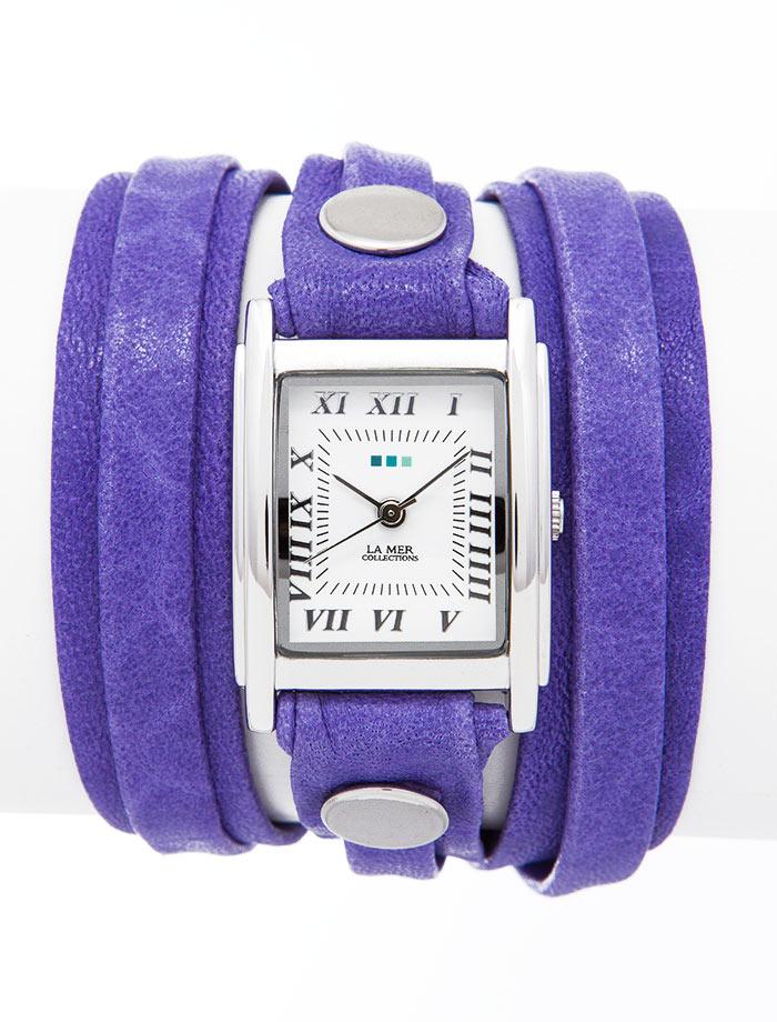 Часы женские наручные La Mer Collections Simple Layer Violet. LMLW3002LMLW3002Женские наручные часы Simple Layer Violet позволят вам выделиться из толпы и подчеркнуть свою индивидуальность. Часы оснащены японским кварцевым механизмом SEIKO. Ремешок, состоящий их двух слоев, выполнен из натуральной итальянской кожи с матовой поверхностью. Корпус часов изготовлен из сплава металлов серебристого цвета. Циферблат оснащен часовой, минутной и секундной стрелками и защищен минеральным стеклом. Циферблат оформлен римскими цифрами и отметками. Часы застегиваются на классическую застежку. Часы хранятся на специальной подушечке в футляре из искусственной кожи, крышка которого оформлена логотипом компании La Mer Collection. Характеристики: Механизм: кварцевый SEIKO (Япония). Размер корпуса: 25 х 22 х 8 мм. Материал корпуса: сплав металлов. Стекло: минеральное. Ремешок: Итальянская натуральная кожа. Размер ремешка: 55 х 1,3 см. Ширина верхнего слоя ремешка: 0,6 см. Гарантия: 1 год. Размер упаковки: ...
