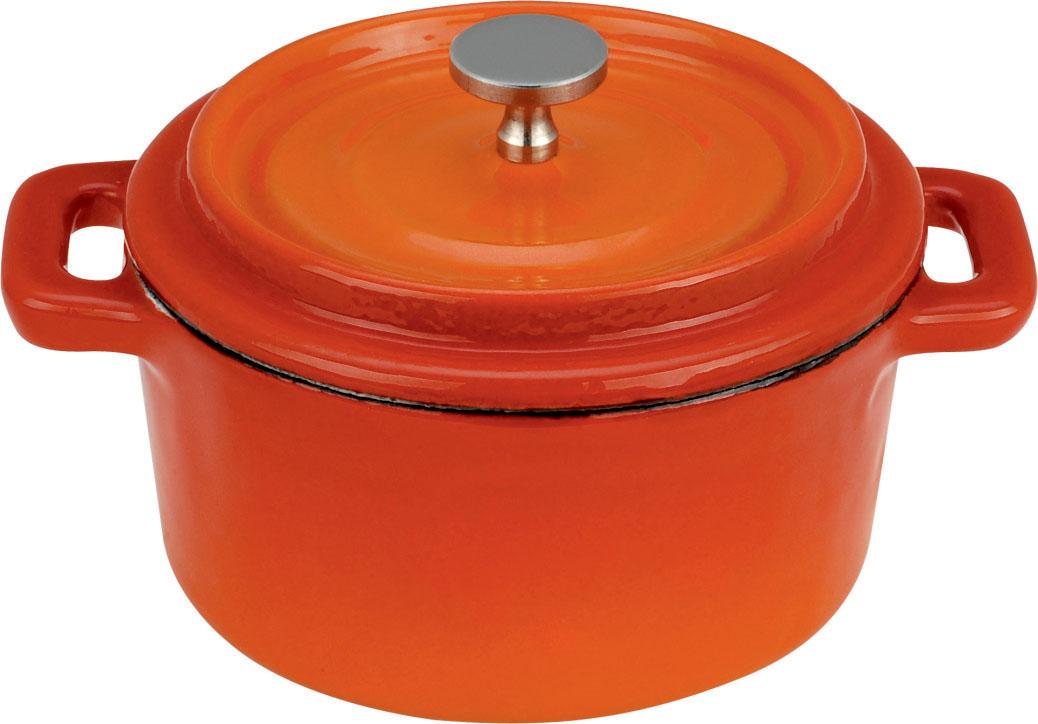 Кастрюля Vitesse, цвет: красный, оранжевый, 350 мл94672Кастрюля Vitesse идеально подходит для приготовления вкусных блюд, соусов. Кастрюляизготовлена из традиционного чугуна. Толстое дно хорошо проводит тепло, а чугунная крышка сохраняет ароматы. Эмалированная внешняя поверхность красного цвета плавно перетекающая в оранжевый цвет придает кастрюле нотки благородности и изысканности. Известно, что пища, приготовленная в чугунной посуде, сохраняет свои вкусовые качества, и благодаря экологической чистоте материала, не может нанести вред здоровью человека. Долговечность - еще одно преимущество чугунной посуды. Приобретая чугунную кастрюлю Ariel, вы можете быть уверены, что она прослужит вашей семье достаточно долгий срок. Кастрюля подходит для всех типов плит. В комплекте к кастрюле дополнительно прилагаются две прихватки! Характеристики:Материал: чугун, текстиль. Объем:350 мл. Диаметр кастрюли:10 см. Высота стенки кастрюли: 5 см.Изготовитель:Китай.Кухонная посуда марки Vitesseпредоставит Вам все необходимое для получения удовольствия от приготовления пищи и принесет радость от его результатов. Посуда Vitesseобладает выдающимися функциональными свойствами. Легкие в уходе кастрюли и сковородки имеют плотно закрывающиеся крышки, которые дают возможность готовить с малым количеством воды и экономией энергии, и идеально подходят для всех видов плит: газовых, электрических, стеклокерамических и индукционных. Конструкция дна посуды гарантирует быстрое поглощение тепла, его равномерное распределение и сохранение. Великолепно отполированная поверхность, а также многочисленные конструктивные новшества, заложенные во все изделия Vitesse , позволит Вам открыть новые горизонты приготовления уже знакомых блюд. Для производства посуды Vitesseиспользуются только высококачественные материалы, которые соответствуют международным стандартам.
