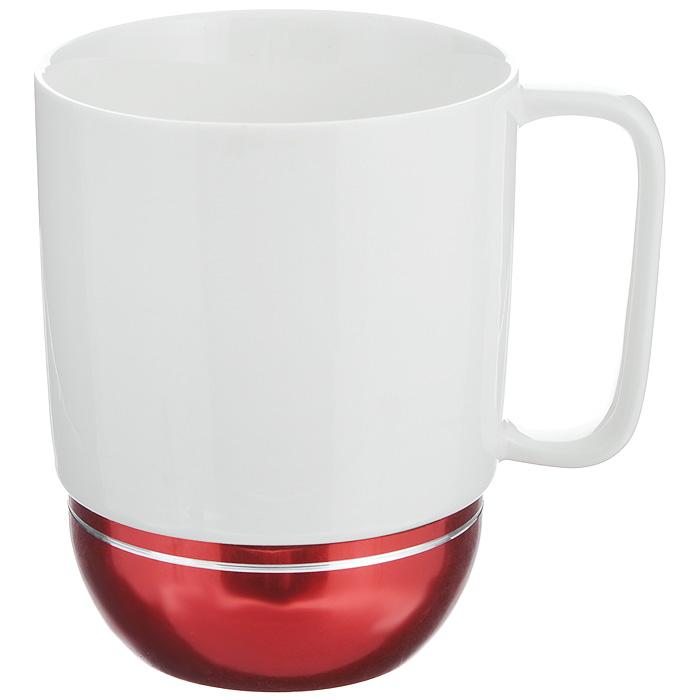 Кружка Amber Porcelain, цвет: белый, бордовый, 350 мл214185Кружка Amber Porcelain, выполненная из фарфора, имеет оригинальную форму. Дно изделия оснащено силиконовой накладкой. Такая кружка порадует вас дизайном и функциональностью, а пить чай или кофе из нее станет еще приятнее.