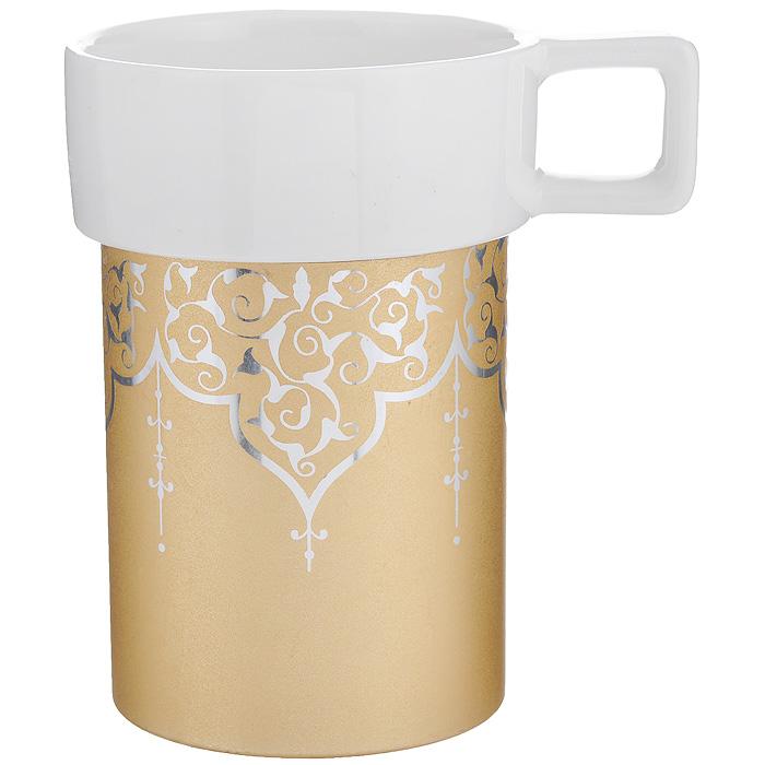 Кружка Amber Porcelain Орнамент, цвет: белый, золотистый, 220 мл214177Кружка Amber Porcelain Орнамент, выполненная из фарфора, имеет оригинальную форму и яркий дизайн. Дно изделия оснащено силиконовой накладкой. Такая кружка порадует вас дизайном и функциональностью, а пить чай или кофе из нее станет еще приятнее.