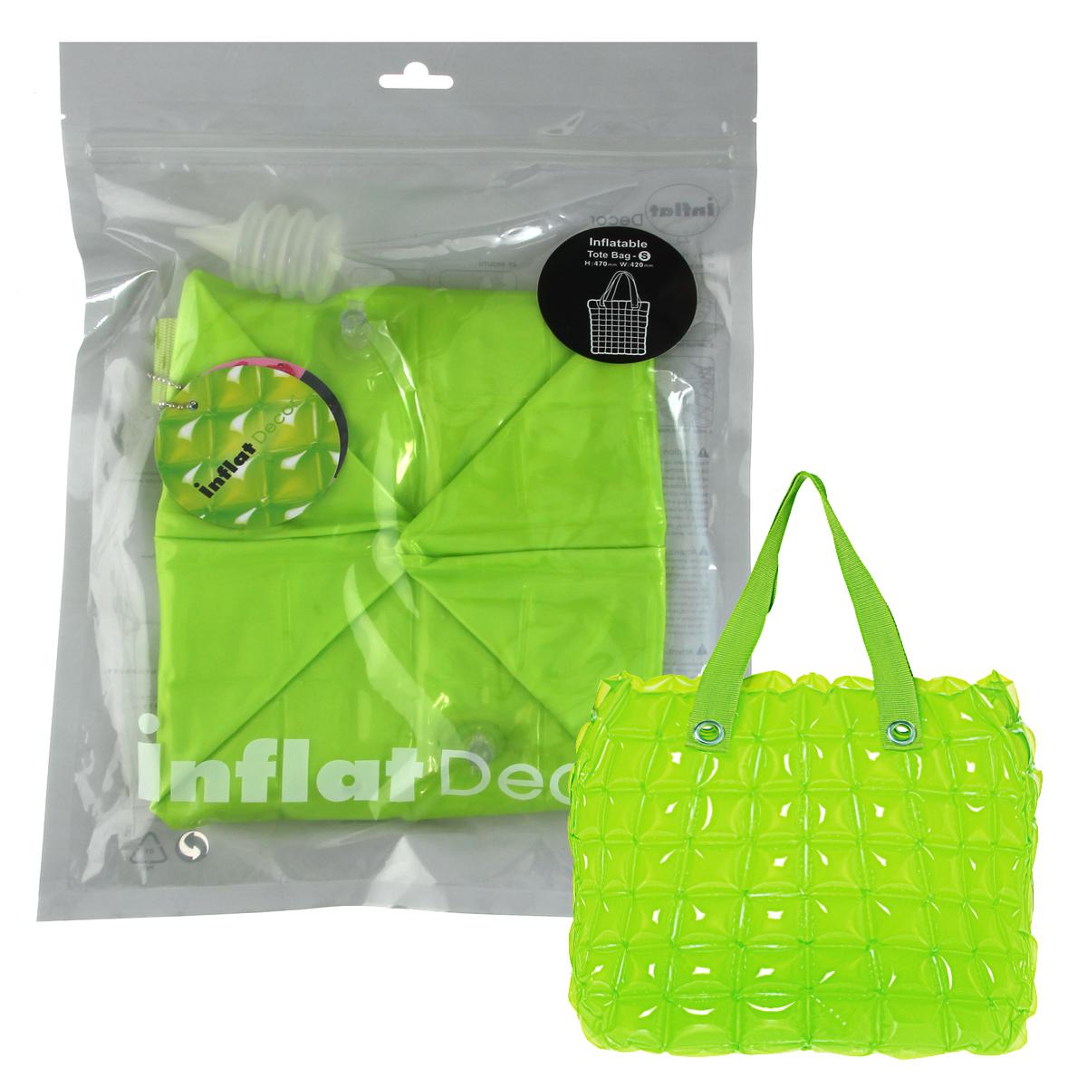 Сумка надувная Inflat Decor, цвет: лайм. 00790079 Lime GreenЯркая надувная сумка - великолепный аксессуар на лето! Сумка прямоугольной формы выполнена из ПВХ и снабжена ручками из полиэстера. Сумка легко надувается при помощи мини-насоса (входит в комплект) или рта. В сдутом виде сумка очень компактна и не займет много места. Надувная вместительная сумка - отличное решение для отдыха на пляже. Характеристики: Материал: ПВХ, полиэстер. Размер сумки: 33 см х 35,6 см х 14 см.