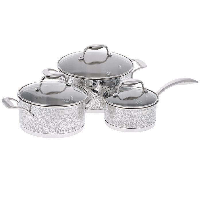 Набор посуды Rondell Vintage, 6 предметов. RDS-379RDS-379Набор посуды Rondell Vintage состоит из 2 кастрюль с крышками и ковша с крышкой. Посуда изготовлена из высококачественной нержавеющей стали 18/10, что гарантирует безупречный внешний вид посуды, практичность и долговечность. Уникальный 2-х этапный метод технологии тройного дна с вштампованным, а затем вплавленным алюминиевым диском позволяет равномерно распределять и значительно дольше сохранять тепло в стенках и дне посуды, что предотвращает пригорание пищи и обеспечивает более быстрое приготовление блюд. Посуда продолжает готовить даже после выключения плиты! Внешние стенки посуды оформлены деколью с эффектом крокелюра. Посуда оснащена ненагревающимися клепаными ручками из нержавеющей стали. Крышки, выполненные из термостойкого стекла, позволяют контролировать процесс приготовления без потери тепла. Аккумуляция тепла при закрытой крышке создает замкнутый цикл парообразования, позволяя готовить в такой посуде без использования масла и воды или же с их...