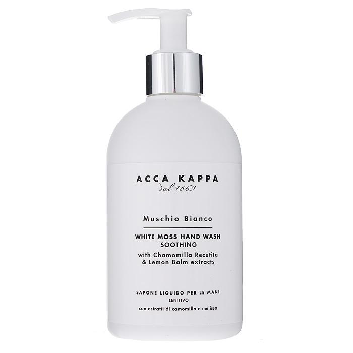 Acca Kappa Жидкое мыло для рук Белый мускус, 300 мл853116Жидкое мыло для рук Acca Kappa Белый мускус обогащено аллантоином растительного происхождения, который способствует регенерации клеток и производит вяжущее действие. Рекомендуется для воспаленной и потрескавшейся кожи рук. Характеристики: Объем: 300 мл. Производитель: Италия. Артикул: 853116. Товар сертифицирован. УВАЖАЕМЫЕ КЛИЕНТЫ! Обращаем ваше внимание на возможные изменения в дизайне упаковки. Поставка осуществляется в зависимости от наличия на складе. Комплектация осталась без изменений.