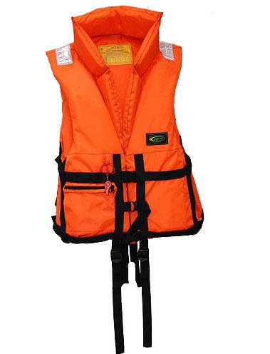 Жилет спасательный Vostok ПР с воротником, цвет: оранжевый, размер 58-64, вес до 120 кгVPR-120Спасательный жилет из ткани сигнальной расцветки оранжевого цвета предназначен для использования в качестве индивидуального спасательного средства для человека при падении за борт, при занятиях водными видами спорта, туризма на гребных, парусных и моторных судах. Светоотражающие полосы способствуют обнаружению в темноте. Позволяет поддерживать человека на плаву долгое время. Плавающий наполнитель НПЭ. Особенности модели: Плавающий воротник-стойка для поддержания головы; Накладной карман на замке; Боковые стяжки и паховые ремни для подгона жилета по фигуре; Свисток для вызова спасателей; Светоотражающие нашивки безопасности.