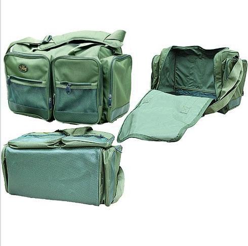 Сумка универсальная Salmo 40, цвет: зеленыйH-1940Сумка универсальная для перевозки рыболовной одежды. Вместительное внутреннее отделение. Четыре больших наружных кармана с замками-молниями. Прочное дно. Регулируемый по длине наплечный ремень со вставкой