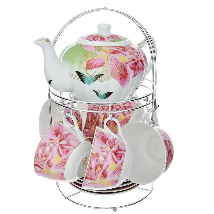 Набор чайный Lillo на подставке, 13 предметов. 213490CM000001328Чайный набор Lillo состоит из шести чашек, шести блюдец и заварочного чайника. Предметы набора изготовлены из высококачественного фарфора и оформлены изображением цветов и бабочек. Все предметы располагаются на удобной металлической подставке с ручкой.Элегантный дизайн набора придется по вкусу и ценителям классики, и тем, кто предпочитает утонченность и изысканность. Он настроит на позитивный лад и подарит хорошее настроение с самого утра.Чайный набор Lillo идеально подойдет для сервировки стола и станет отличным подарком к любому празднику.Чайный набор упакован в красочную подарочную коробку из плотного картона.Характеристики:Материал: фарфор, металл. Объем чашки: 270 мл. Диаметр чашки по верхнему краю: 9,5 см. Высота чашки: 6 см. Диаметр блюдца: 15 см. Объем чайника: 1 л. Размер чайника (с учетом ручки и носика): 23 см х 15 см х 10 см. Размер подставки (Д х Ш х В): 18 см х 18 см х 31 см.