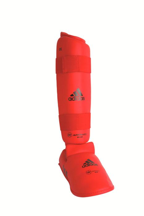 Защита голени и стопы Adidas WKF Shin & Removable Foot, цвет: красный. 661.35. Размер L661.35Защита голени и стопы Adidas WKF Shin & Removable Foot с объемным наполнителем необходима при занятиях спортом для защиты пальцев, суставов вывихов, ушибов и прочих повреждений. Накладки выполнены из высококачественного полиуретана PU3G. Накладки прочно фиксируются за счет эластичной ленты и липучки. Между собой защита голени и защита стопы также скрепляются липучкой. Удобные и эргономичные накладки Adidas идеально подойдут для занятий карате и другими видами единоборств. Одобрены WKF. Размер ноги 42-44. Длина защиты голени 36 см.