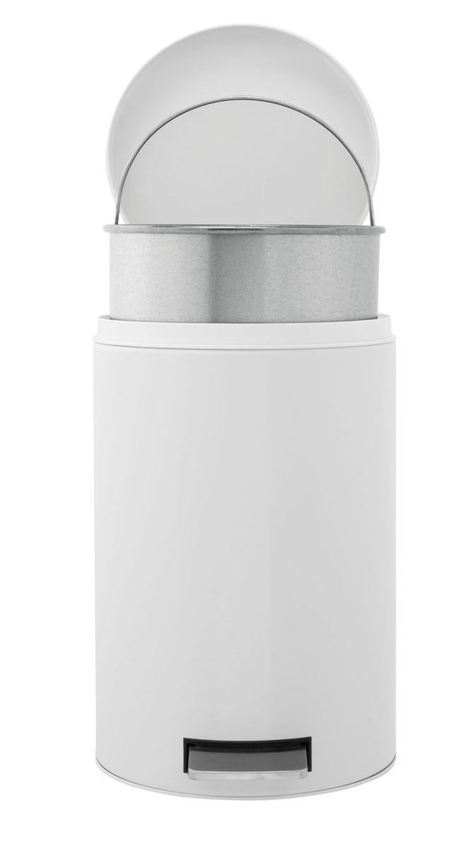 Бак мусорный Brabantia Классический, с педалью, с внутренним ведром, цвет: белый, 12 л283703Педальный бак Brabantia на 12 литров поистине универсален и идеально подходит для использования на кухне или в гостиной. Достаточно большой для того, чтобы вместить весь мусор, при этом достаточно компактный для того, чтобы аккуратно разместиться под рабочим столом. Предотвращает распространение запахов - прочная не пропускающая запахи металлическая крышка; Плавное и бесшумное открывание/закрывание крышки; Удобный в использовании - при открывании вручную крышка фиксируется в открытом положении, закрывается нажатием педали; Надежный педальный механизм, высококачественные коррозионно-стойкие материалы; Удобная очистка - прочное съемное внутреннее металлическое ведро; Предохранение пола от повреждений - пластиковое защитное основание; Всегда опрятный вид - идеально подходящие по размеру мешки для мусора с завязками (размер C); 10-летняя гарантия Brabantia. Характеристики: Материал: сталь. Размер: 330*263*410мм. Артикул: 283703.
