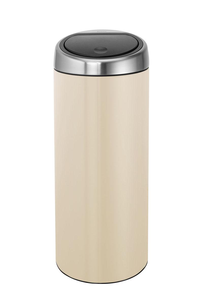 Бак мусорный Brabantia Touch Bin, с защитой от отпечатков пальцев, цвет: миндальный, 30 л479809Стильный Touch Bin на 30 литров – непременный атрибут каждой гостиной или кухни. Порадуйте себя и удивите гостей! Бесшумное открывание/закрывание крышки легким касанием – система soft touch; Удобная смена мешков для мусора – съемный блок крышки из нержавеющей стали; Удобная очистка – съемное внутреннее ведро из пластика с вентиляционными отверстиями, предотвращающими образование вакуума при вынимании полного мусорного мешка; Легкое перемещение с места на место – прочная ручка для переноски; Предохранение пола от повреждений – пластиковый защитный обод; Бак изготовлен из коррозионно-стойких материалов – долговечность и удобство в очистке; Всегда опрятный вид – идеально подходящие по размеру мешки для мусора с завязками (размер C); 10-летняя гарантия Brabantia. Характеристики: Материал: сталь. Размер: 305*305*765мм. Артикул: 479809.
