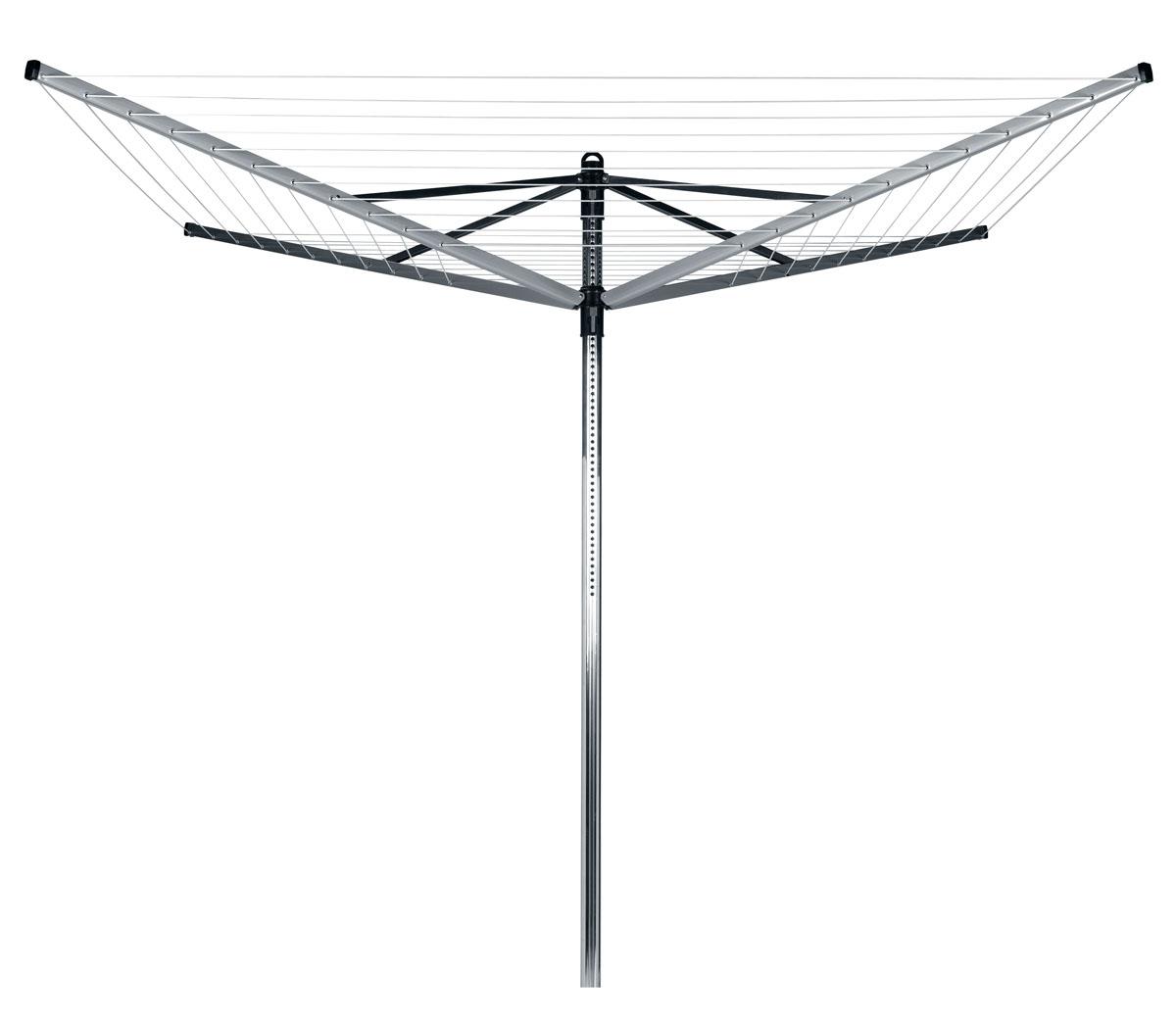 Сушилка для белья Brabantia Lift-O-Matic311000Сушилка Brabantia Lift-O-Matic с четырьмя направляющими вращается вокруг своей оси и регулируется по высоте. Благодаря вращающейся конструкции, вам не придется ходить вокруг сушилки с корзиной белья, а специальный механизм Lift-O-Matic поможет легко настроить идеальную рабочую высоту сушилки. Особенности: - Изготовлена из материалов, стойких к коррозии: направляющие из стали со специальным покрытием и алюминиевая труба диаметром 45 мм. - Удобно вешать и снимать белье, так как можно легко изменять высоту веревок (от 124 до 182 см). - Сушилка плавно вращается даже при полной загрузке мокрым бельем. - В нижнем положении идеально подходит для проветривания подушек и других постельных принадлежностей. - Компактная модель: сушилка легко складывается и занимает мало места при хранении. Механизм сложения - зонтик. - Высокопрочные струны с противоскользящим профилем. - Металлическое основание для установки сушилки в комплекте.