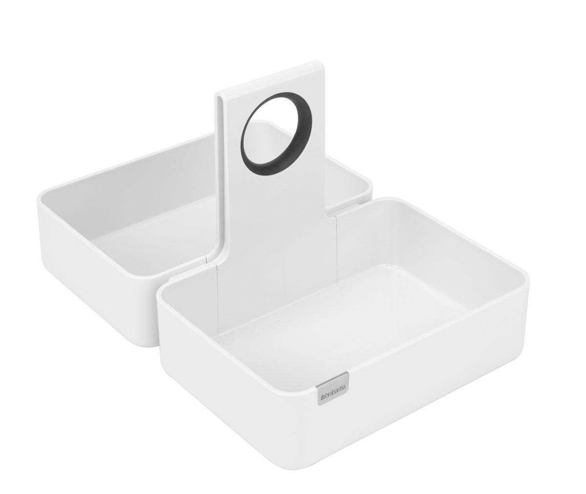 Кухонная подставка-органайзер Brabantia, цвет: белый. Размер M423505Модульная конструкция, эффективное использование пространства. Подходит для размещения корзинки для хлеба (размер M). Изделие имеет модульную конструкцию, обеспечивающую экономию места. Подходит для всех распространенных размеров кухонных ящиков и шкафов; Эргономичное изделие с удобной ручкой; Отличное решение для упорядоченного хранения различных предметов; Идеальное решение для хранения продуктов в фабричной упаковке (рис, макаронные изделия и т.п.); Стильный дизайн – можно использовать на обеденном или рабочем столе; Противоскользящие накладки на дне предотвращают перемещение подставки в ящике или шкафу; Прочное долговечное изделие из высококачественных материалов; Легко чистится благодаря сглаженным формам и коррозионностойким свойствам; Подходит для размещения корзинки для хлеба (размер M); 10 лет гарантии Brabantia. Характеристики: Материал: сталь. Размер: 360*245*175мм. Артикул: 423505.