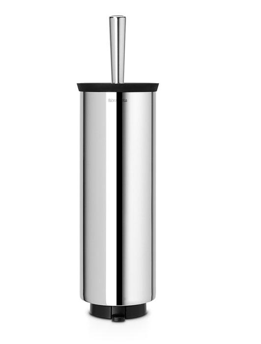 Ершик для туалета Brabantia, с держателем, цвет: стальной790009Туалетный ершик с держателем Brabantia изготовлен из коррозионностойких материалов и подходит для влажных помещений, таких как ванная комната и туалет. Металлический держатель с хромированной поверхностью скрывает ершик. Благодаря наличию съемного внутреннего стакана изделие гигиенично и удобно в очистке. Специальная форма ершика обеспечивает удобную и качественную очистку - идеальная чистота даже под ободом унитаза. Изделие может крепиться к стене с помощью поставляемого в комплекте кронштейна, что облегчает уборку и позволяет экономить место в ванной комнате. Изделие легко снимается с настенного кронштейна для тщательной очистки поверхности стены. Альтернативно изделие можно использовать на полу без крепления на стену – основание с противоскользящими свойствами предотвращает скольжение по плитке.Размер (ВхШхГ): 43 х 11,5 х 12,5 см.