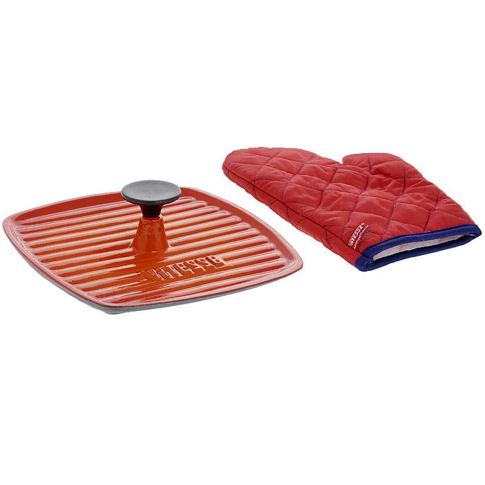 """Гриль-пресс Vitesse """"Ferro"""", цвет: оранжевый, 23 см х 23 см + ПОДАРОК: Кухонная рукавица, 1 шт VS-2328"""