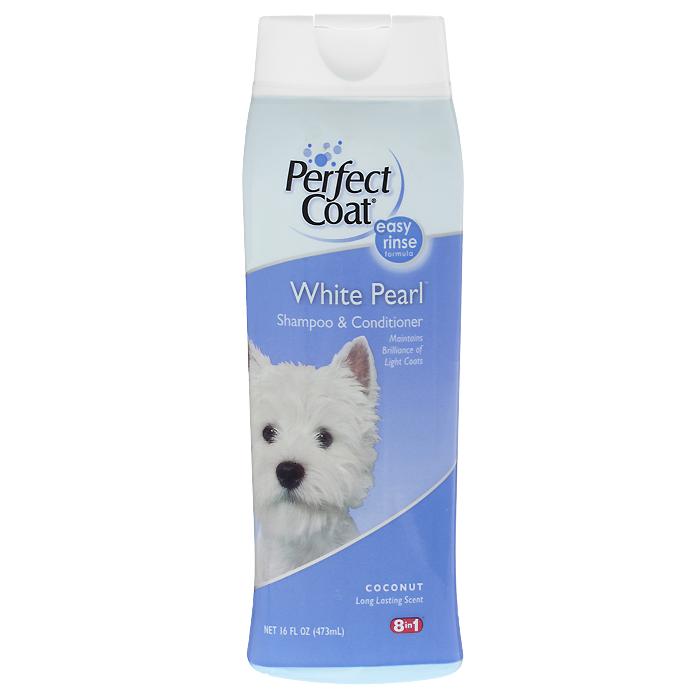Шампунь-кондиционер для собак светлых окрасов 8 in 1 Perfect Coat. White Pearl, 473 мл0120710Шампунь-кондиционер для собак светлых окрасов 8 in 1 Perfect Coat. White Pearl способствует поддержанию насыщенности и яркости белой и светлой шерсти. Он содержит специальную формулу, которая связывает железо и медь водопроводной воды, не позволяя светлой шерсти желтеть. Алоэ вера и частицы кондиционера увлажняют кожу и оставляют шерсть мягкой и блестящей. С ароматом кокоса.Легко смываемая формула. Применение: Обильно нанесите на влажную шерсть. Распределите шампунь массирующими движениями, продвигаясь от головы к хвосту и избегая попадания шампуня в глаза. Полностью смойте водой. При необходимости повторить. Расчешите шерсть, чтобы она не спуталась, и высушите полотенцем.Состав:Вода, натрия олеина сульфат, натрия сульфат, лаурамид, изостеариновый лактат, натрия хлорид, стеарат гликоля, гель алое-вера, пропилен гликоль, диазолиновая мочевина, метилпарабен, пропилпарабен, ароматизатор, красители.Товар сертифицирован.