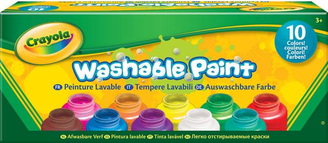 Акварель в баночках Crayola, смываемая, 10 цветовPP-001Смываемая акварель в баночках Crayola– отличное решение для детского творчества. В компактной упаковке вы найдете 10 баночек по 59 миллилитров: красного, оранжевого, желтого, зеленого, бирюзового, синего, пурпурного, фиолетового, коричневого и белого цветов.Кремообразная консистенция краски позволяет ей оставаться на кисточке, а не капать с нее в неположенных местах. Краска легко наносится. И, что немаловажно, эта акварель быстро смывается не только с рук, но и с одежды с помощью воды. Характеристики:Комплектация: 10 цветов.
