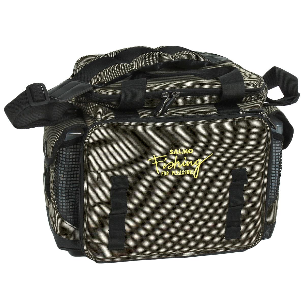 Сумка рыболовная Salmo 09, цвет: серый162Удобная сумка для рыболовных принадлежностей. В комплекте пять пластиковых коробок, размером 28 см х 18 см х 4 см, и две коробки, размером 20 см х 13 см х 4 см, с многочисленными отделениями. Верхнее отделение, удобное для перевозки катушек.Двойная ручка и мягкий, регулируемый по длине, наплечный ремень.